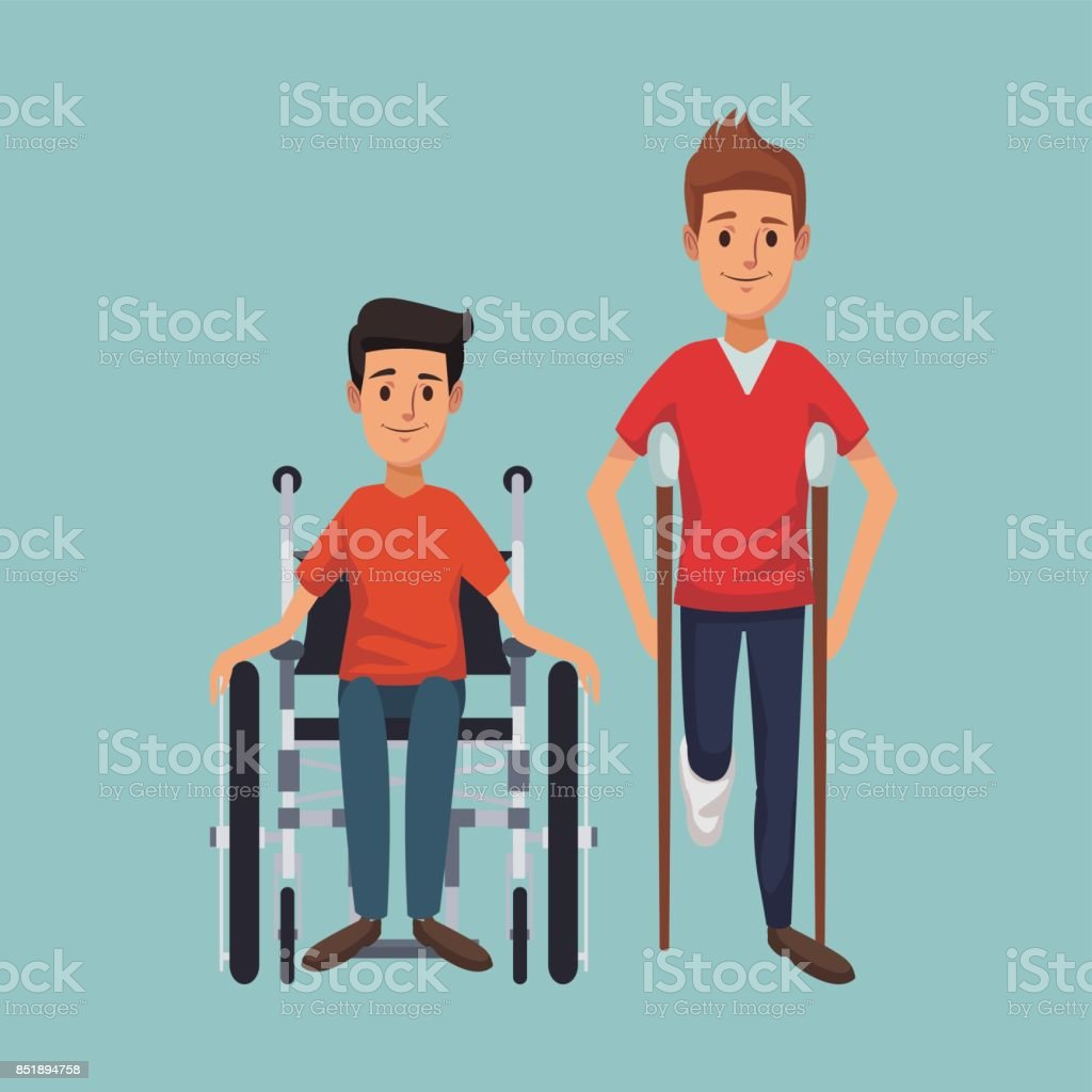 color background with men on crutches and handicapped in wheelchair vector art illustration