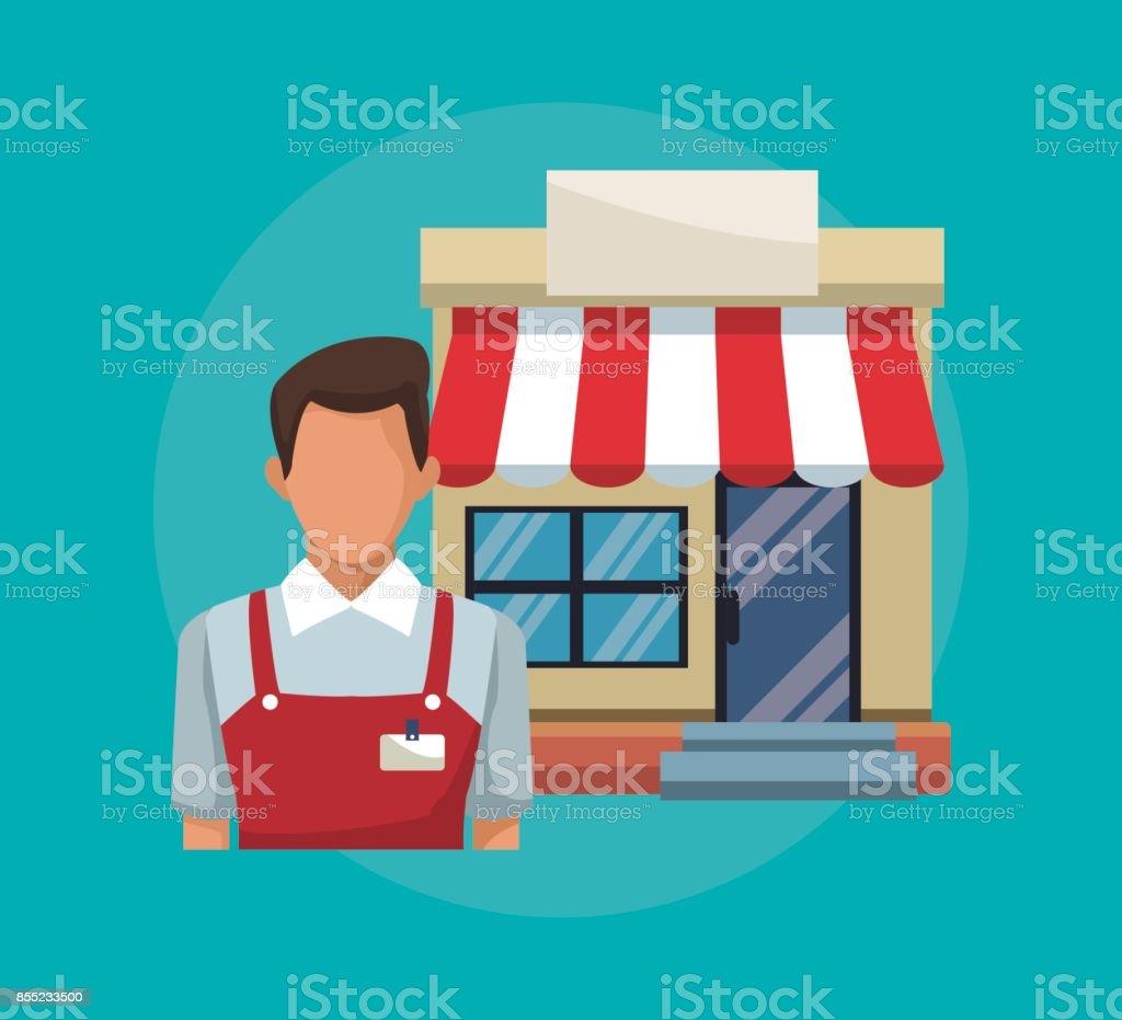fond de couleur avec auvent magasin vendeur et façade - Illustration vectorielle