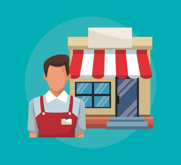 セールスマンとファサードの店舗オーニングと背景色 - 株式仲買人点のイラスト素材/クリップアート素材/マンガ素材/アイコン素材