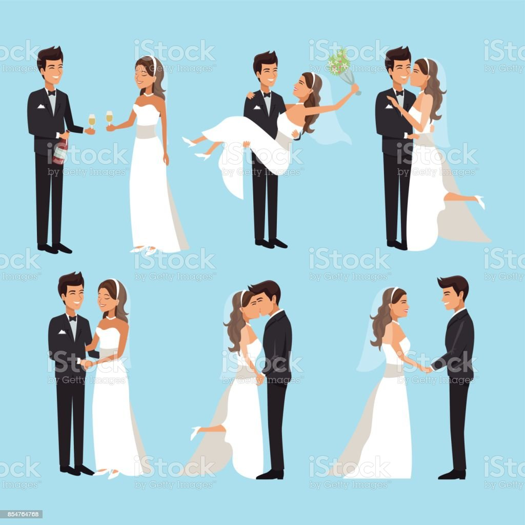 color background with scenes of newly married couple in different standing vector art illustration