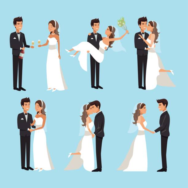 color background with scenes of newly married couple in different standing color background with scenes of newly married couple in different standing vector illustration bridegroom stock illustrations