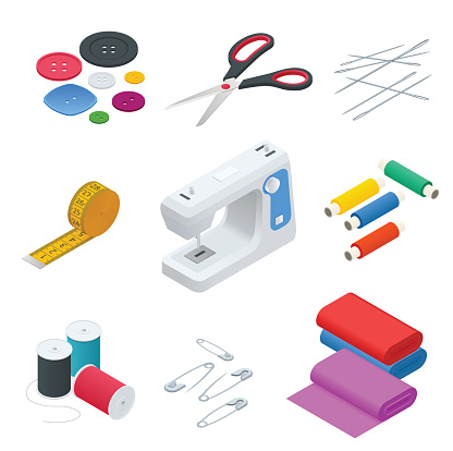 Color banners of objects for sewing, handicraft. Sewing tools and sewing kit,sewing equipment, needle, sewing machine, sewing pin, yarn. Sew vector set.