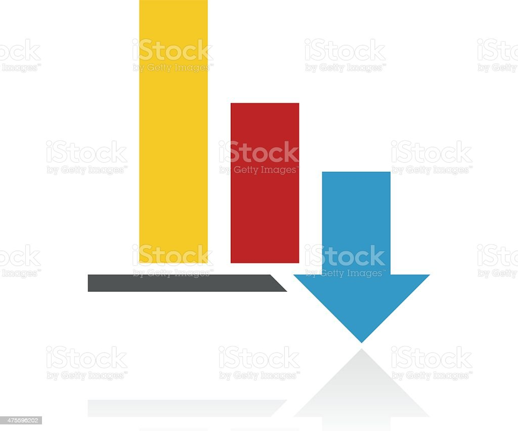 Color Bar Graph icon vector art illustration