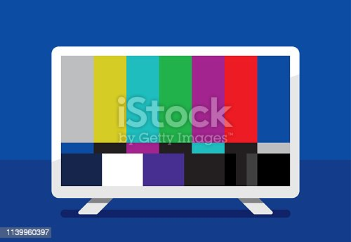 Vector illustration of a high definition television with color bars against a blue background in flat style.