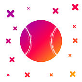 Color Baseball ball icon isolated on white background. Gradient random dynamic shapes. Vector Illustration
