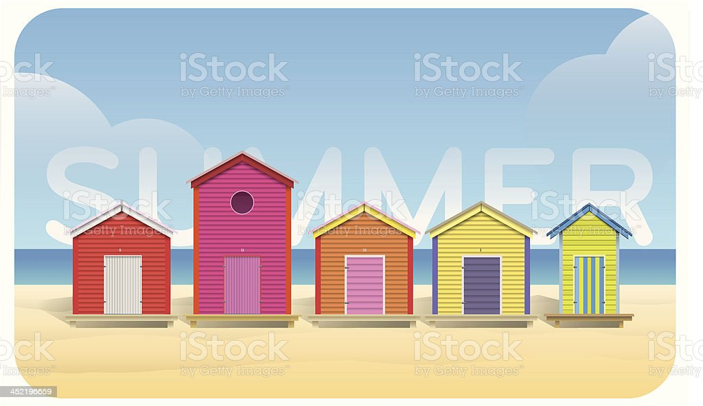 Color beach huts vector art illustration