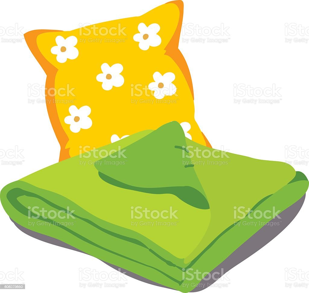 Color bed linen vector art illustration