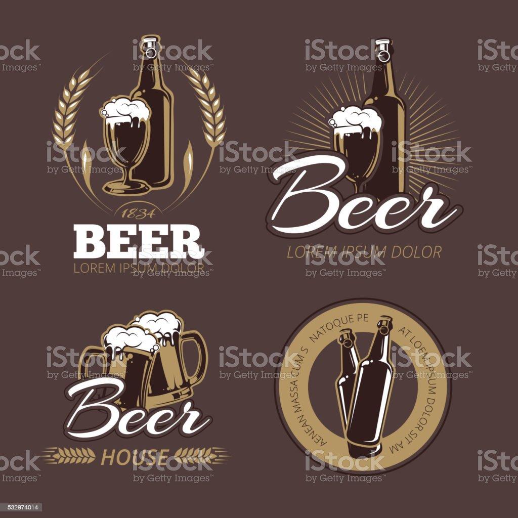 Color beer labels vector set vector art illustration