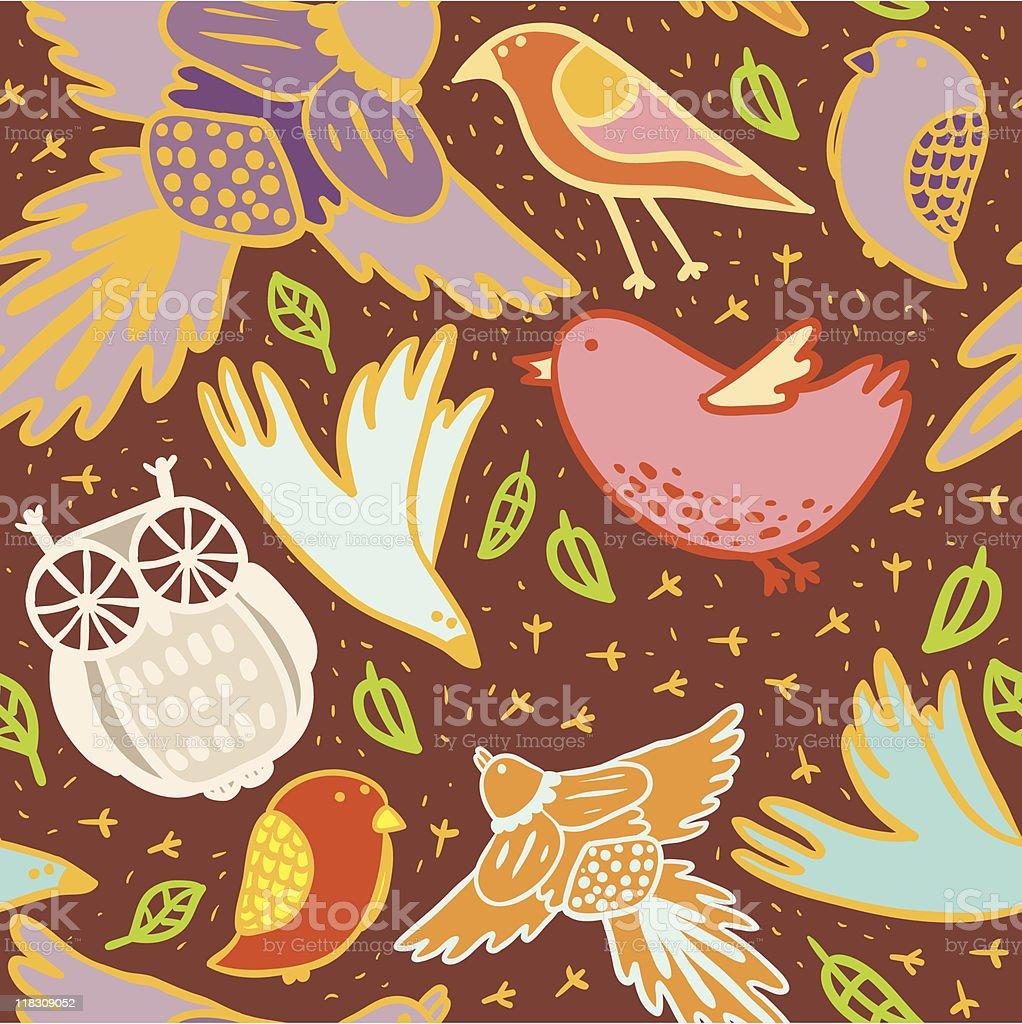 Color birds pattern royalty-free stock vector art