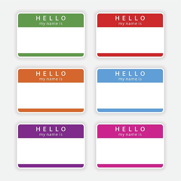 farbe leer namensschild-hallo, mein name ist sticker label-tag - hello stock-grafiken, -clipart, -cartoons und -symbole