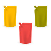 Spouted pouches isolated on white background, realistic vector mockup. Blank stand up pouch with screw cap, color template set.