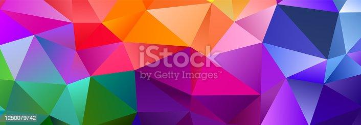 istock Color Blend Rainbow Trendy Low Poly BG Design 1250079742