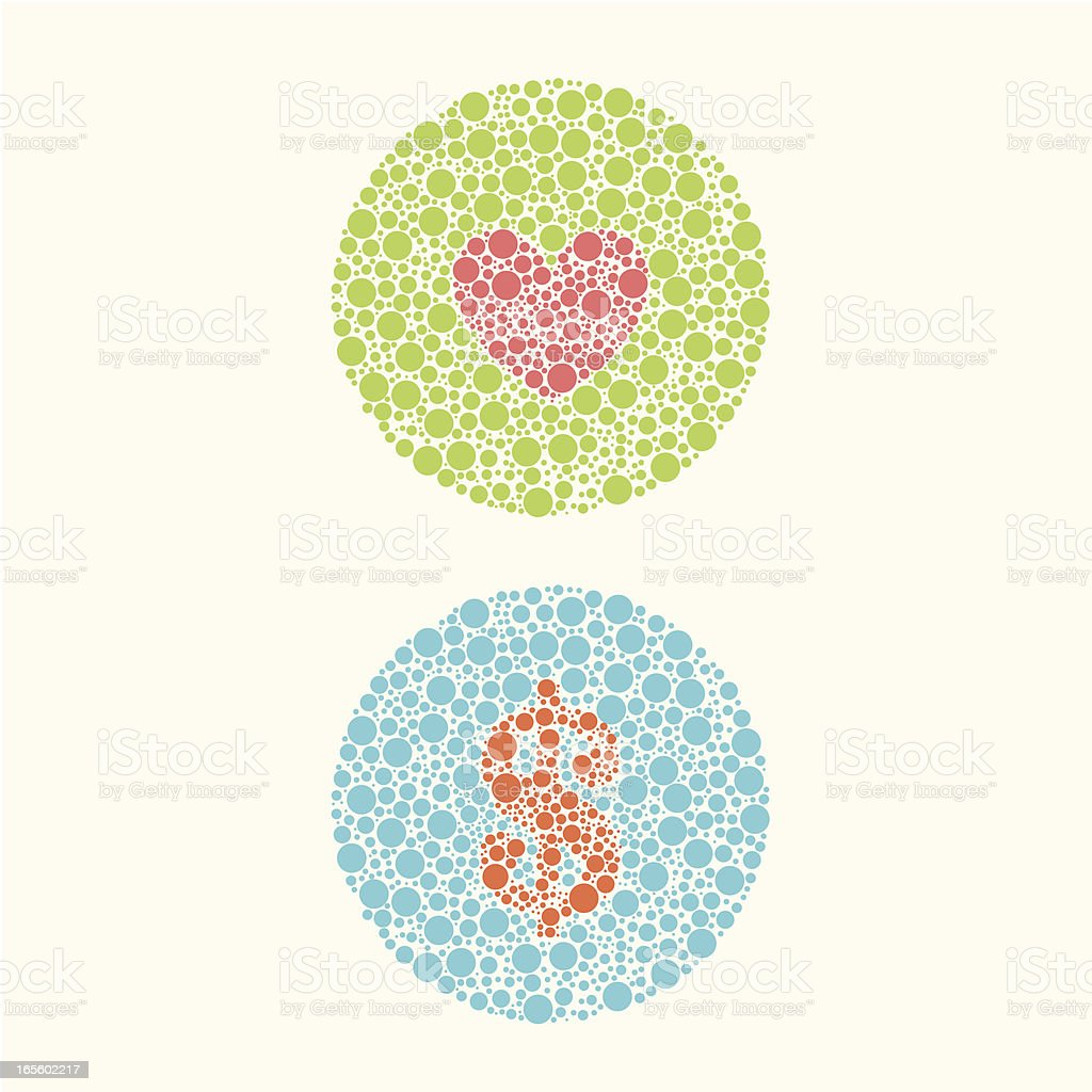 color blind test: for love or money vector art illustration