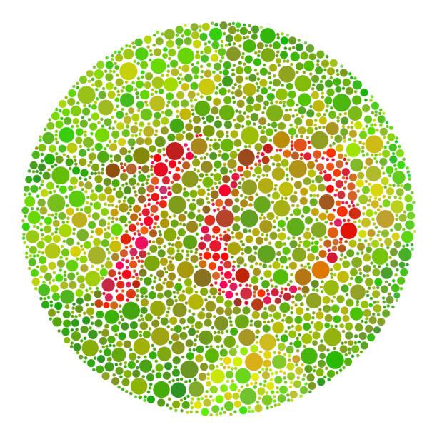 farbe blindheit test mosaik. - farbwahrnehmung stock-grafiken, -clipart, -cartoons und -symbole