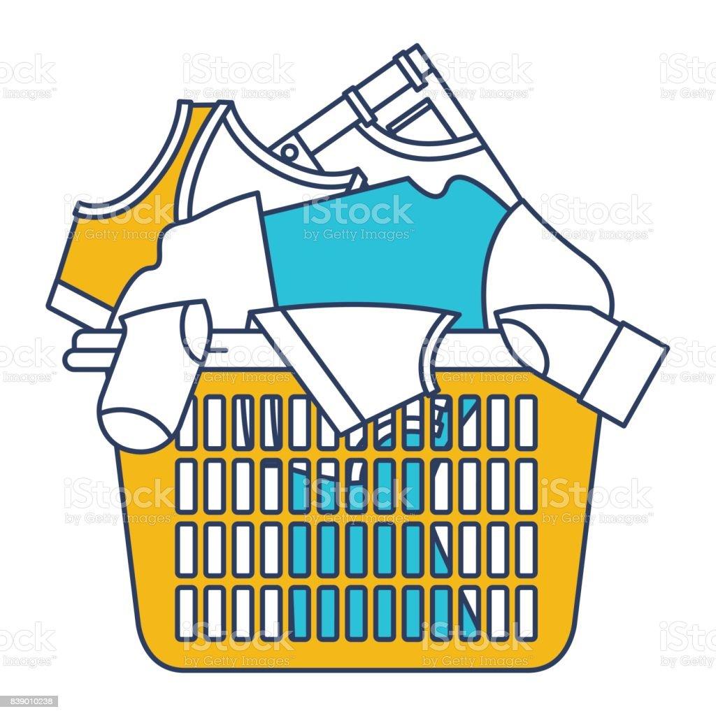 Farbe Blau Und Gelb Abschnitte Silhouette Der Wäschekorb Mit Haufen
