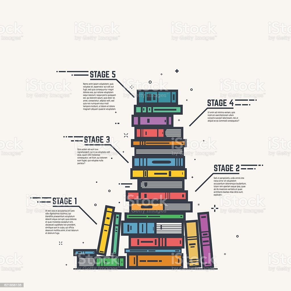 Color book pile line infographics vector art illustration
