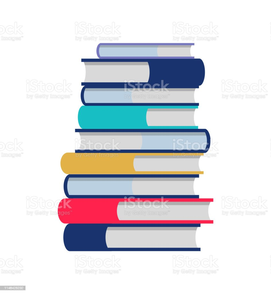 Color Books Stack Flat Illustration Flat Cartoon Paper Book