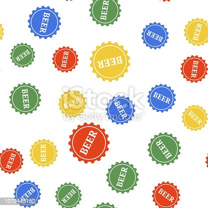 Color Bottle cap with beer word icon isolated seamless pattern on white background. Vector.