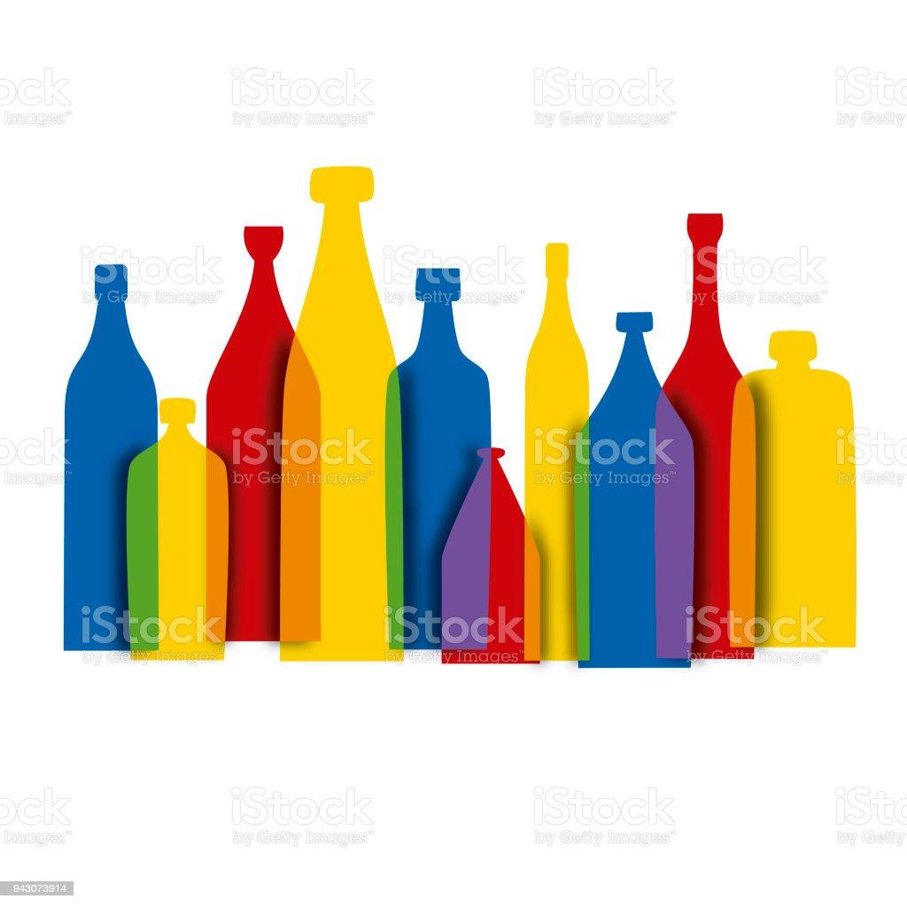 Color bottles vector art illustration