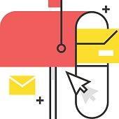 Color box icon, mail box concept illustration, icon