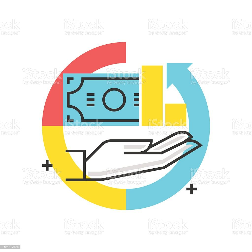 Color box icon, return of investment concept vector art illustration