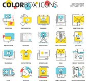 Color box icons, advertisement, backgrounds and graphics