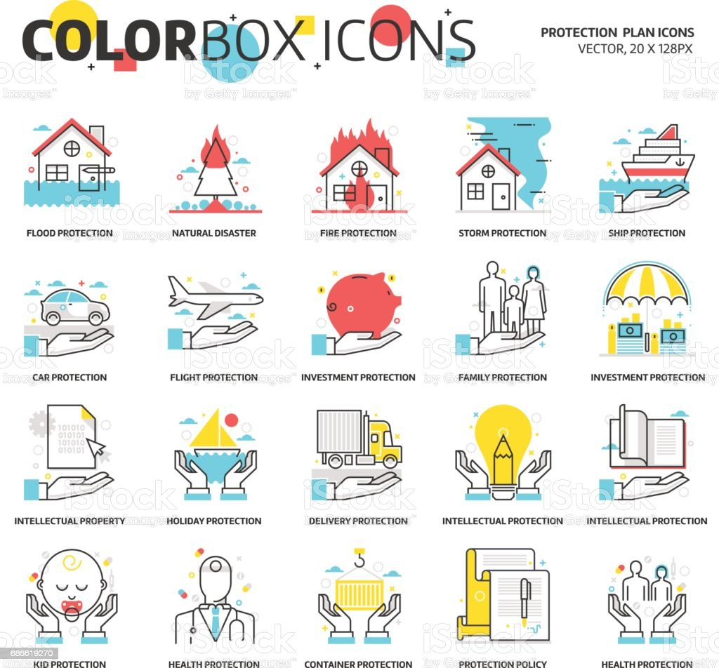 Color box icons, energy industry backgrounds and graphics - Illustration vectorielle