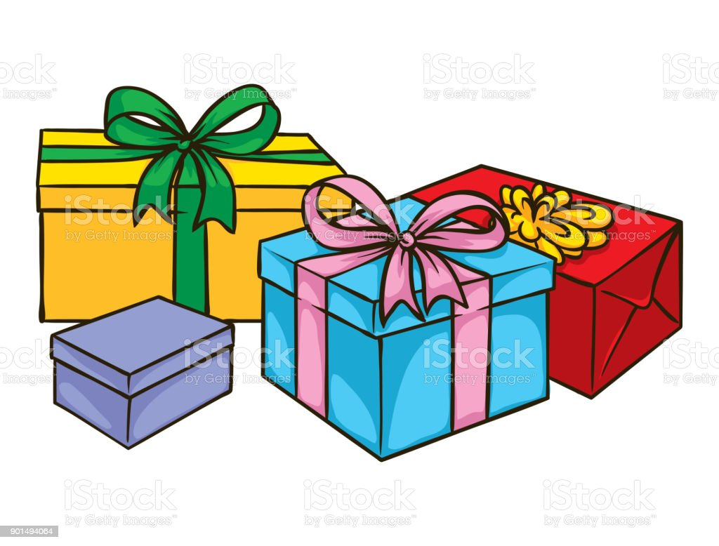 Color Boxes With Gifts Stock Vector Art More Images Of Birthday