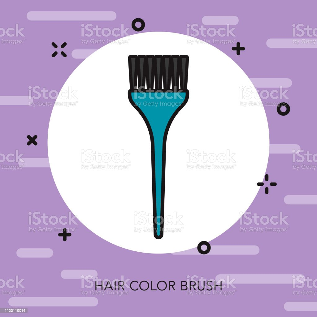 Color Brush Hairdresser Thin Line Icon vector art illustration