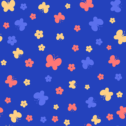 color butterflies and flowers. simple baby repetitive background. vector seamless pattern. fabric swatch. wrapping paper. continuous print. design element for home decor, apparel, phone case, textile