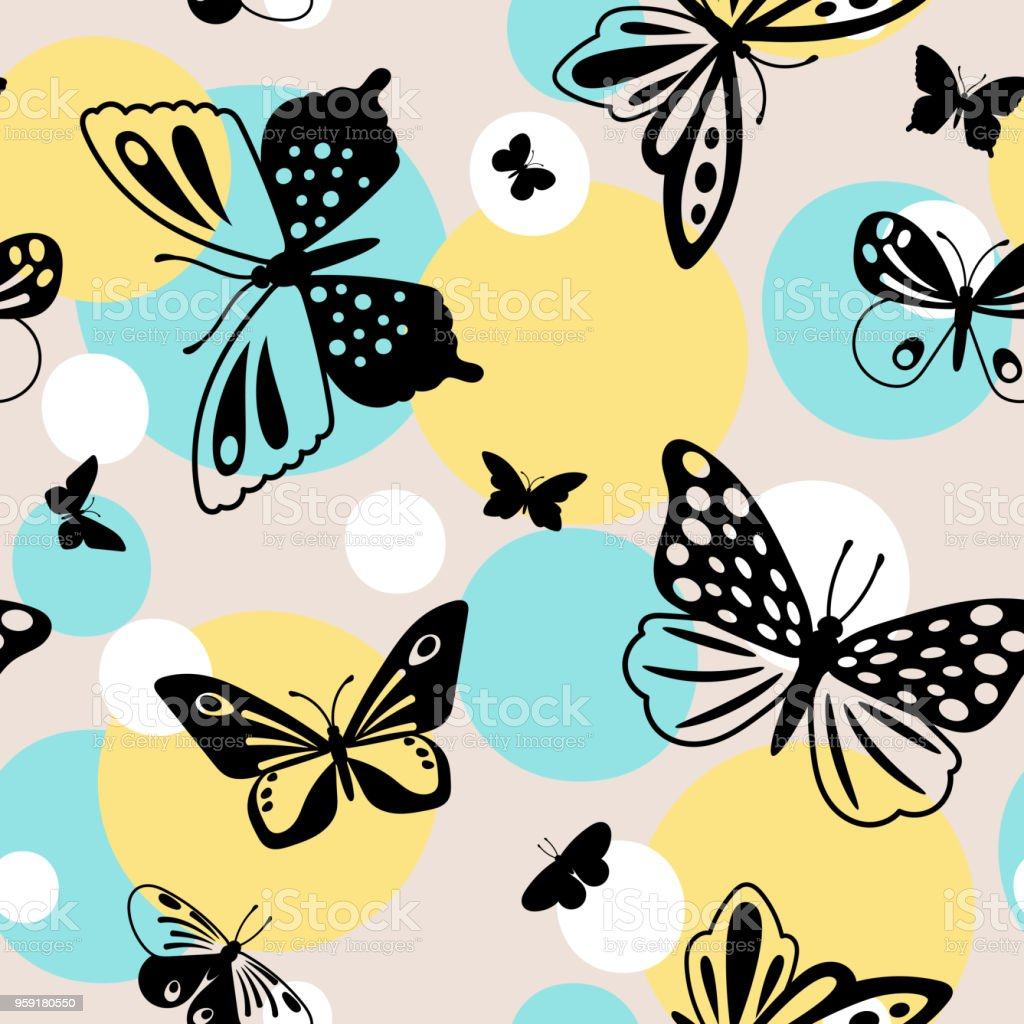 Color Butterflies Seamless Pattern Stock Vector Art & More Images of ...