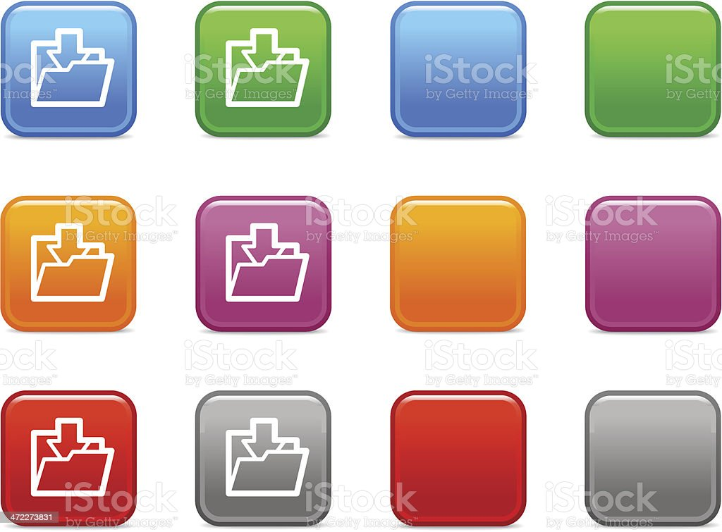 Color buttons with download to folder icon royalty-free stock vector art
