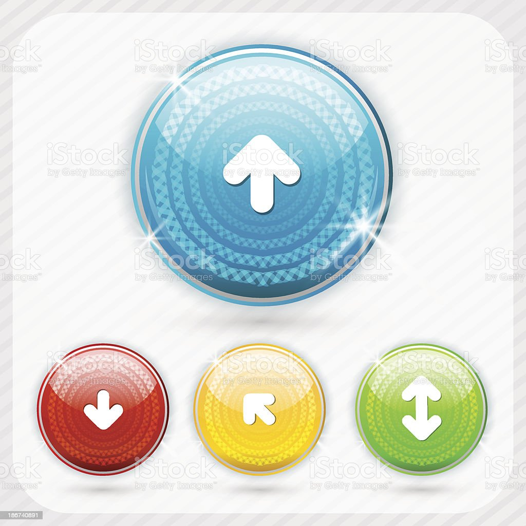 Color buttons with white arrow symbol vector art illustration