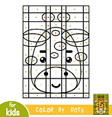 Color by dots, education game for children, Giraffe