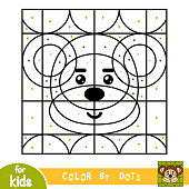 Color by dots, education game for children, Monkey