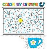 Color by letters. Learning the capital letters of the alphabet. Puzzle for children. Letter C. Cup. Preschool Education.