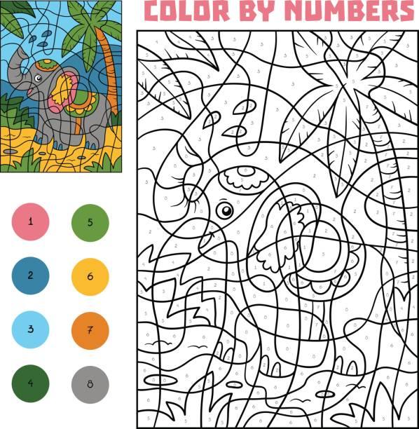 farbe nach anzahl, elefant - zahlenspiele stock-grafiken, -clipart, -cartoons und -symbole