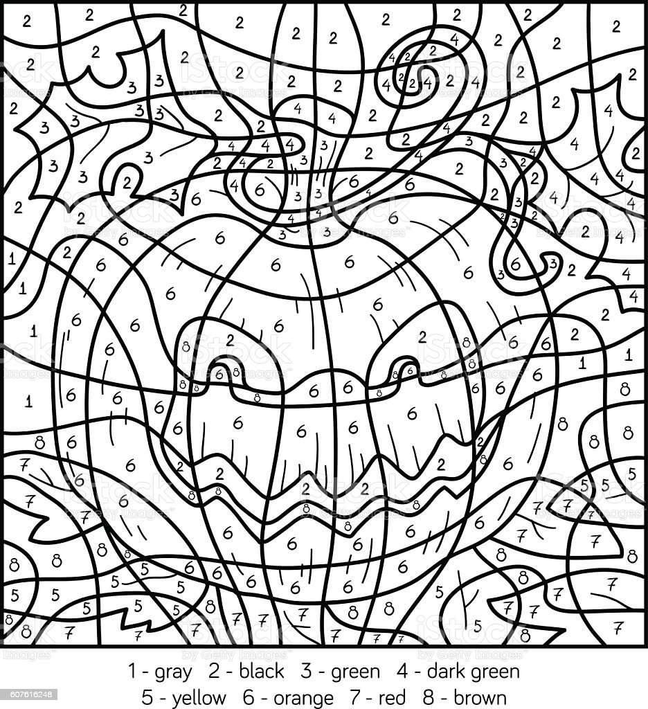 Color By Number Halloween Pumpkin Stock Illustration ...
