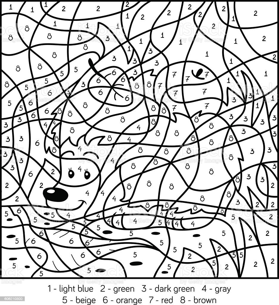 Color By Number Hedgehog Stock Illustration - Download ...