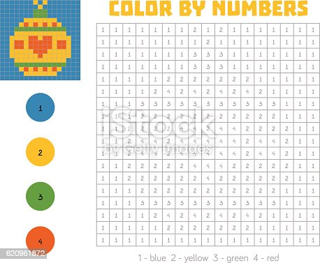 Color By Number With Numbered Squares Christmas Tree Ball ...