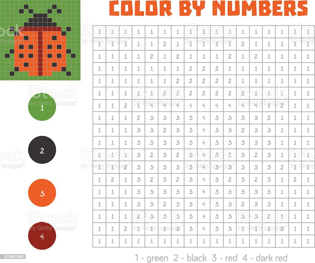 Color By Number With Numbered Squares Ladybug Stock ...