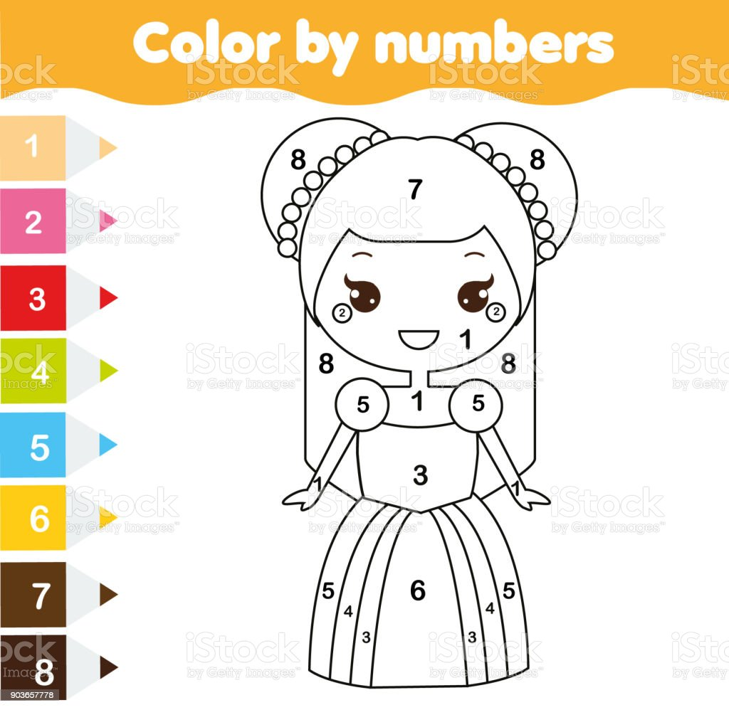 Color By Numbers Educational Children Game Coloring Page For Kids Cute Princess Royalty
