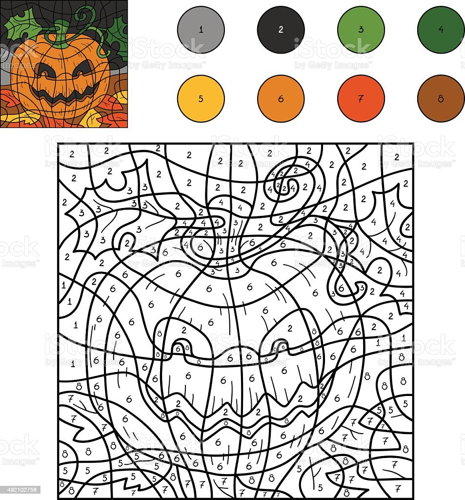 Color By Numbers Halloween Pumpkin Stock Illustration Download Image Now Istock