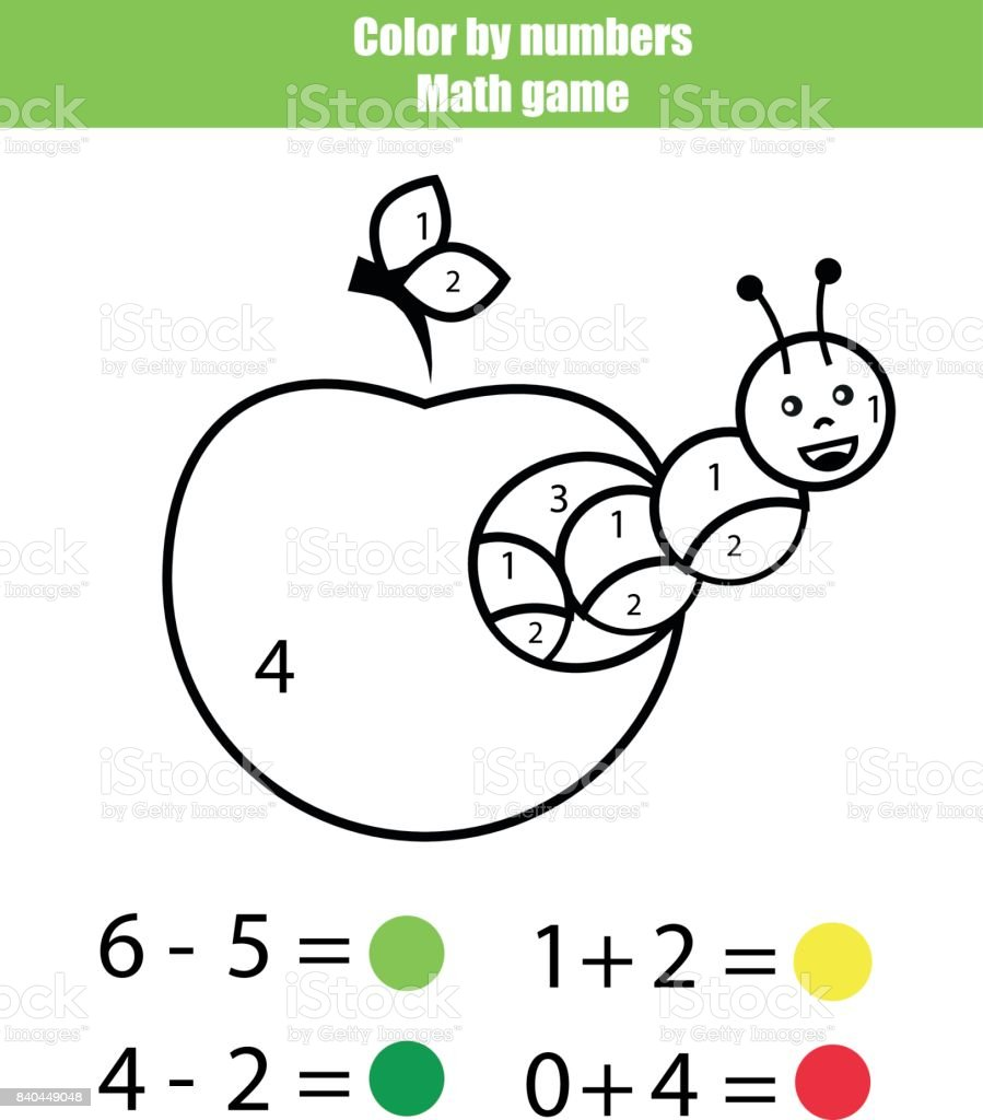 Color By Numbers Mathematics Game Coloring Page With Caterpillar ...
