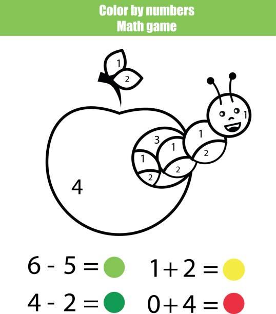 farbe durch zahlen. mathematik-spiel. malvorlagen mit caterpillar - zahlenspiele stock-grafiken, -clipart, -cartoons und -symbole