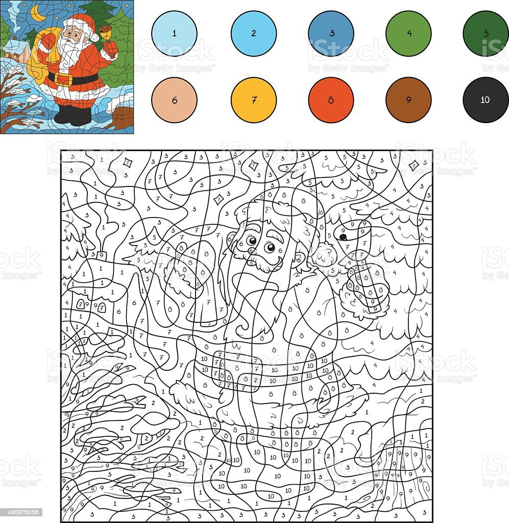 Color By Numbers Santa Claus And Bell Stock Vector Art & More Images ...