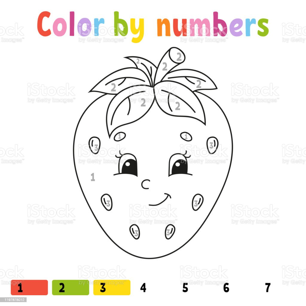 - Color By Numbers Strawberry Coloring Book For Kids Food Character Vector  Illustration Cute Cartoon Style Hand Drawn Worksheet Page For Children  Isolated On White Background Stock Illustration - Download Image Now -  IStock