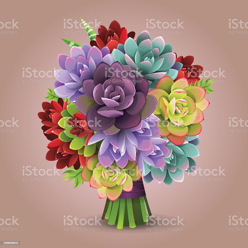 Color Cactus Bouquet Stock Vector Art & More Images of Botany ...