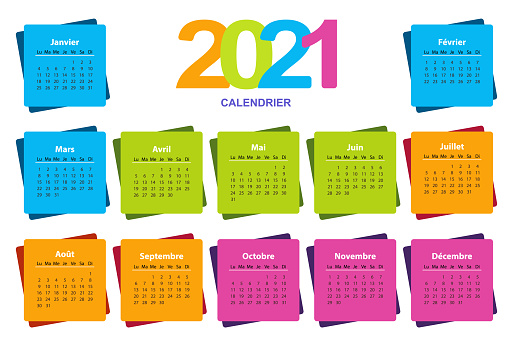 Color calendar on 2021 year with a square shape, French.