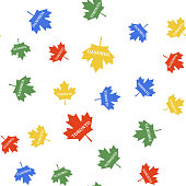 Color Canadian maple leaf with city name Toronto icon isolated seamless pattern on white background. Vector.